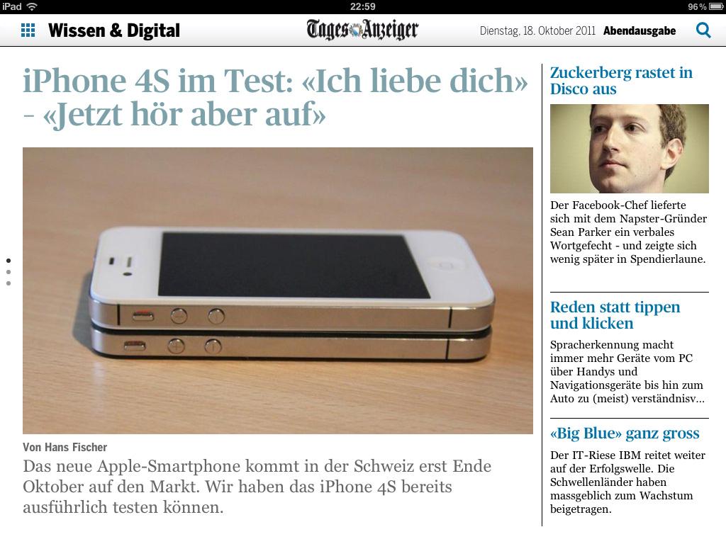 Mein Artikel zum Thema iPhone 4S im Tagesanzeiger