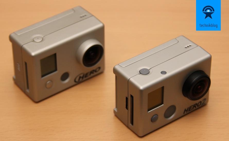GoPro HD Hero 2 im Vergleich zur HD Hero, seitlich erkennt man den zusätzlichen HDMI Anschluss