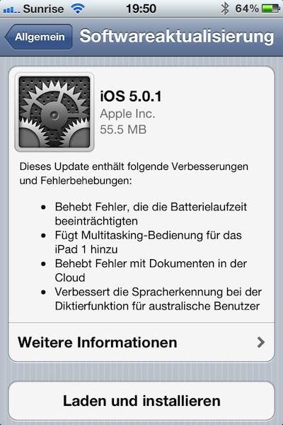 iOS 5.0.1 wurde veröffentlicht