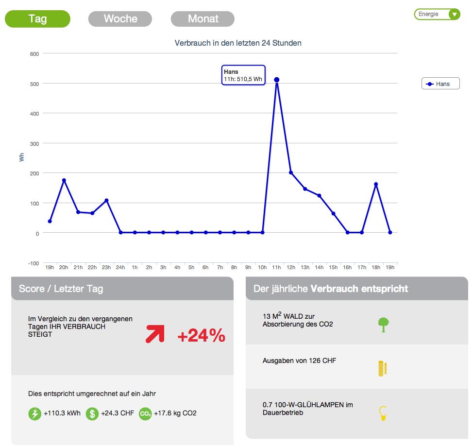 Ecowizz Auswertung des eigenen Stromverbrauchs