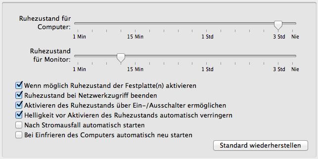 OS X Lion: Ruhezustand bei Netzwerkzugriff beenden