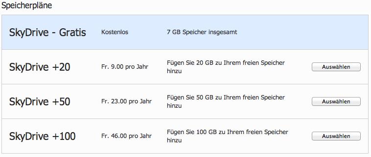 Microsoft SkyDrive Preispläne