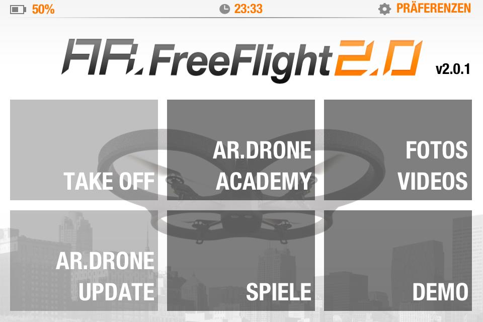AR.Drone Free Flight 2.0 - Hauptmenü mit Zugriff auf alles wichtige