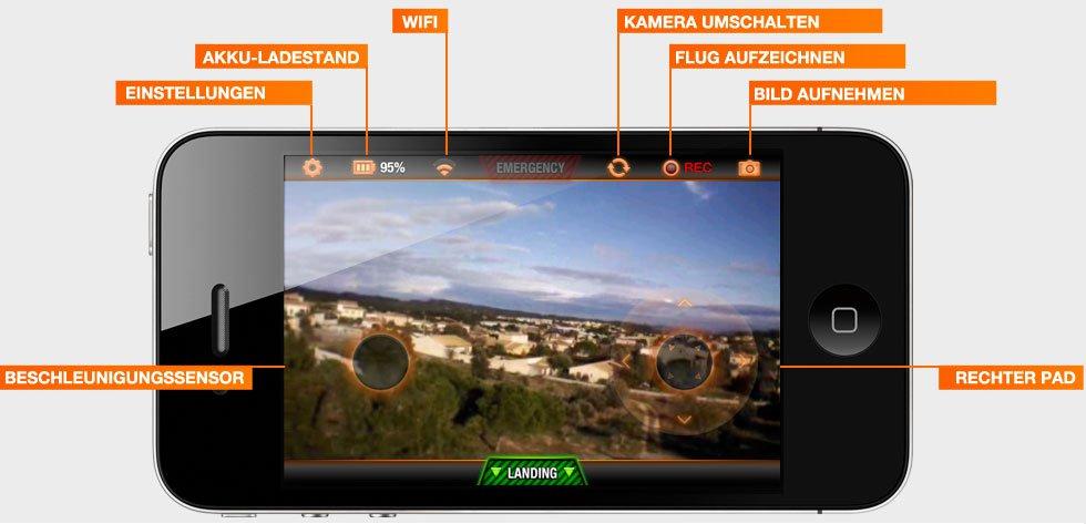 AR.Drone 2.0 Freeflight - Bedienelemente