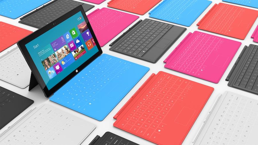Microsoft Surface mit verschiedenen Tastatur Farben