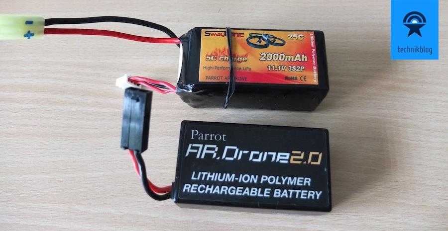 Parrot AR Drone 2.0: Original Akku vs. Swaytronic