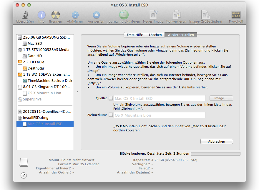 Mac OS X Mountain Lion - bootfähigen USB-Stick erstellen