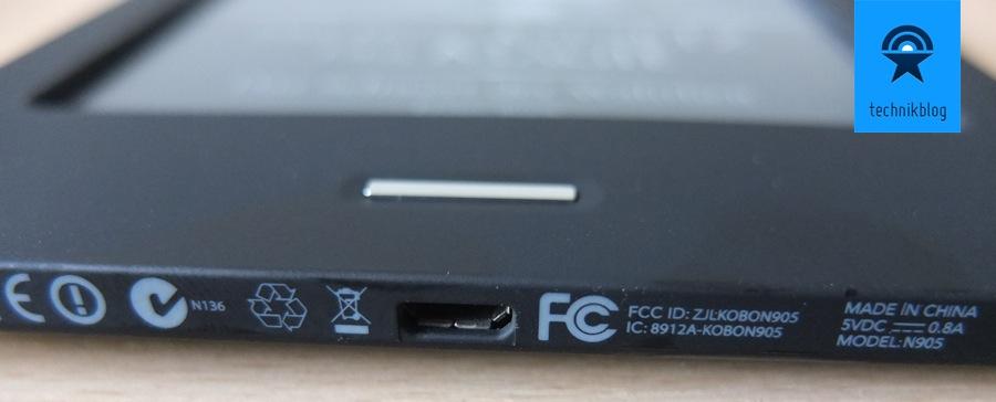 Kobo Touch eReader - microUSB und Taster