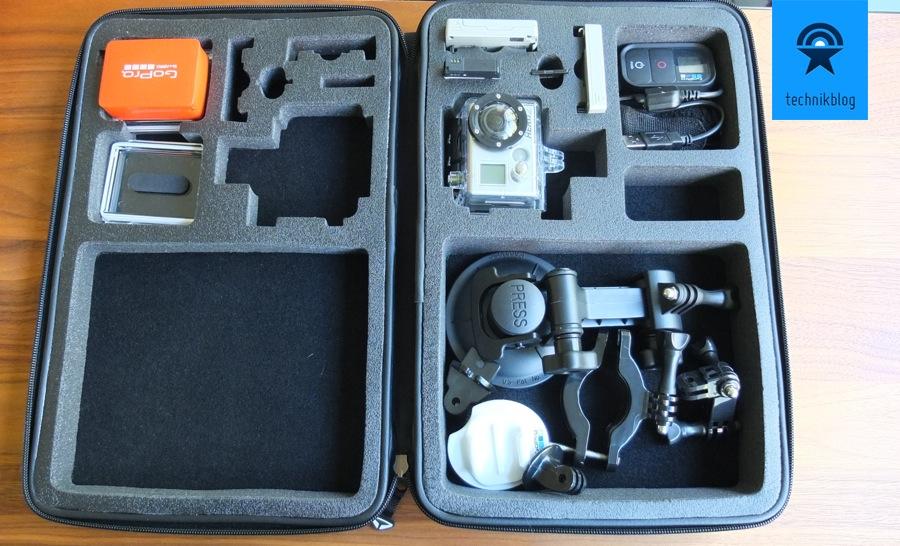 SP Cam Case GoPro - gefüllt mit einigem Zubehör
