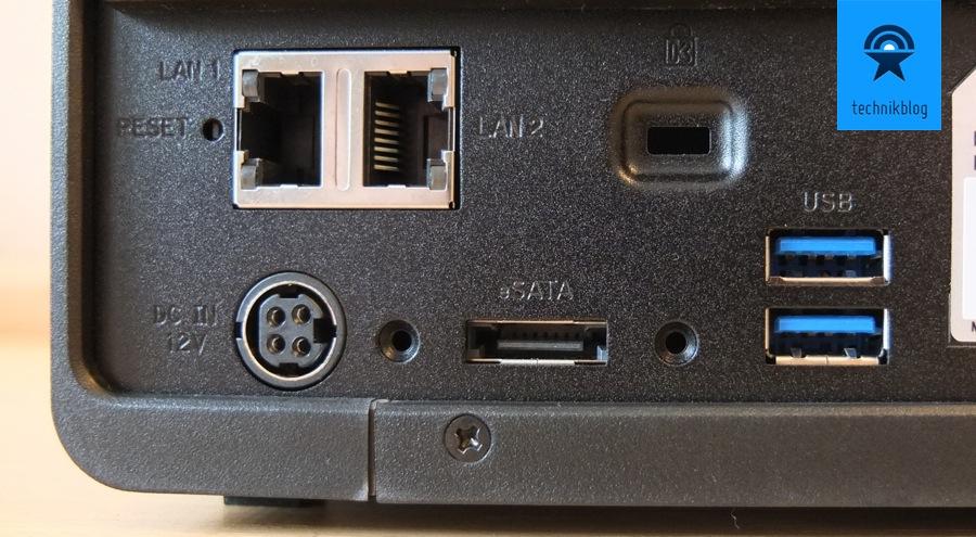 Die DS412+ biete Anschlüsse satt, mit 2xLAN, 2xUSB3.0 und eSATA