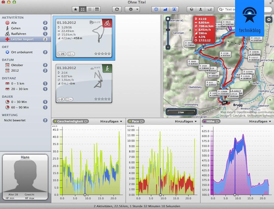 Auswertung mit RubiTrack - kompatibel mit fast allen GPS Devices