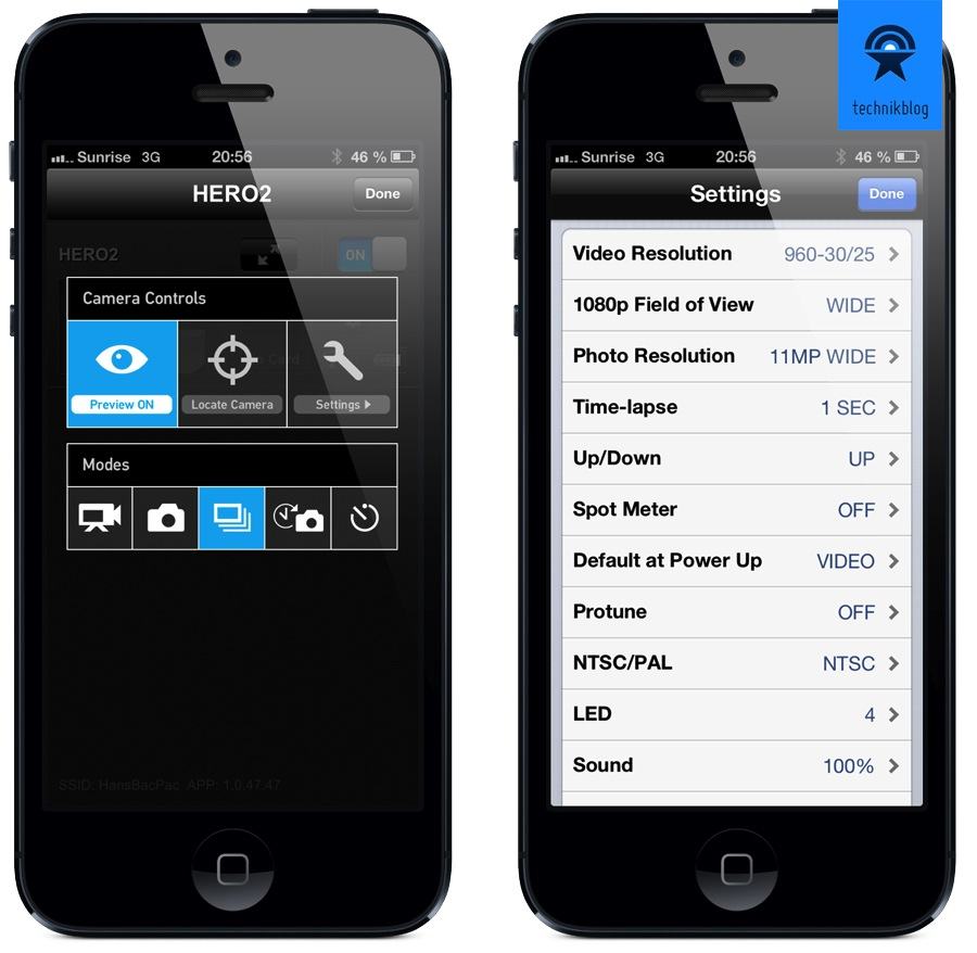 Die GoPro App, Liveview ist nicht - aber dafür Settings sehr übersichtlich einstellbar