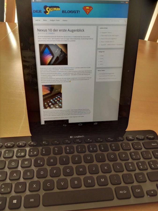 Google Nexus 10 mit externer Tastatur