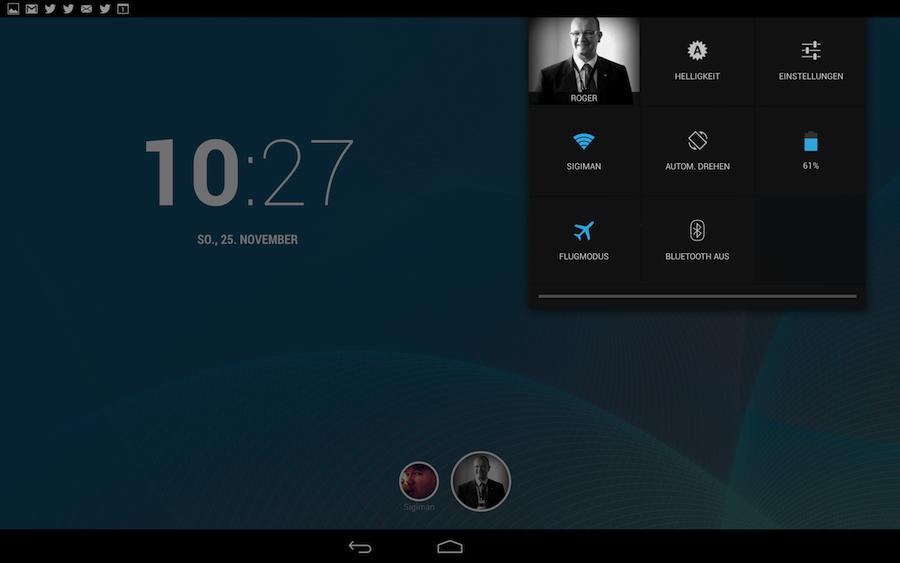 Nexus 10 Oberfläche mit Jelly Bean 4.2.1