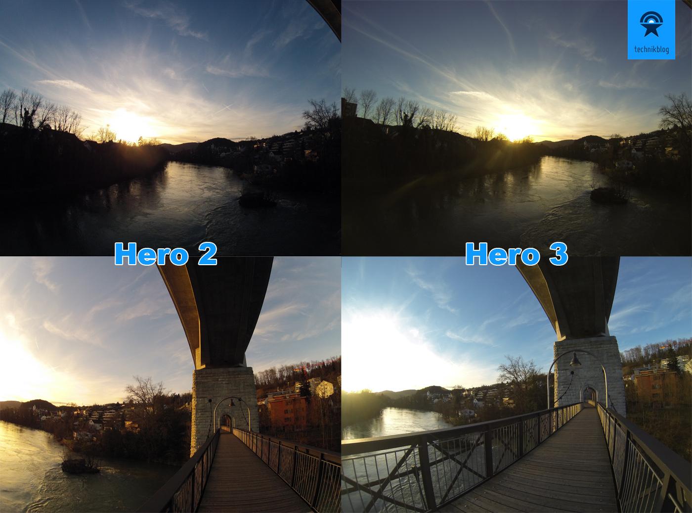 GoPro Vergleich Bilder zwischen Hero 2 und Hero 3 bei Gegenlicht