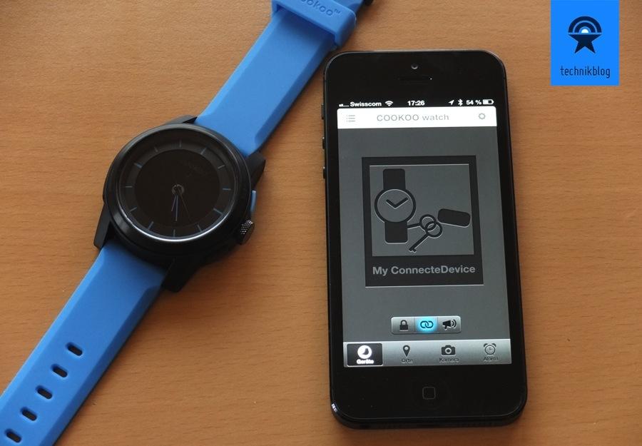 Cookoo Smartwatch zusammen mit der iOS App