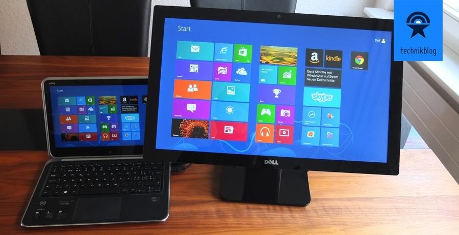 Dell XPS 12 zusammen mit dem S2340T Multitouch Monitor