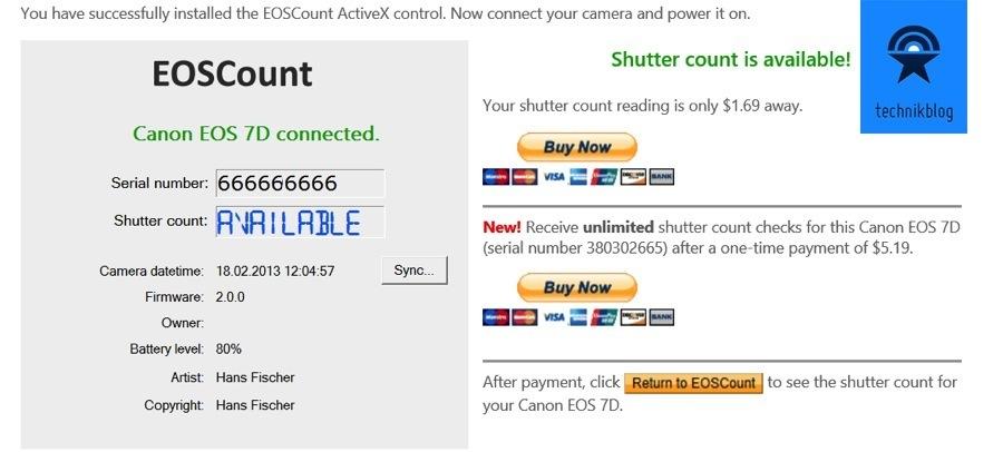 EOSCount Shutter Count an der EOS 7D - Serial abgeändert
