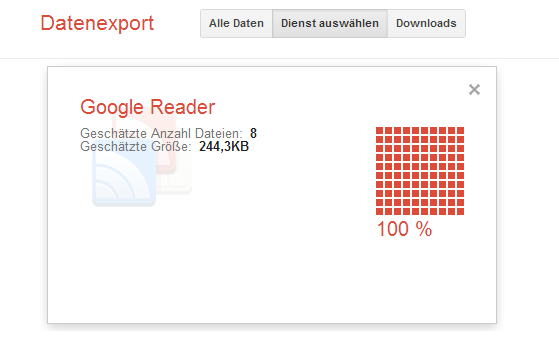 Google Reader Feeds exportieren