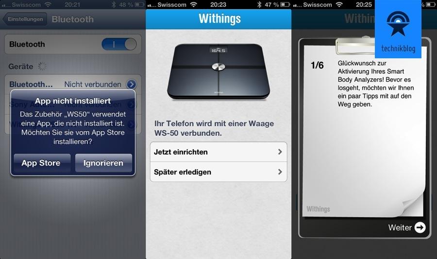 Withings Gesundheitsbegleiter App: Sie führt perfekt durch die Einrichtung, welche damit nur 5 Minuten dauert