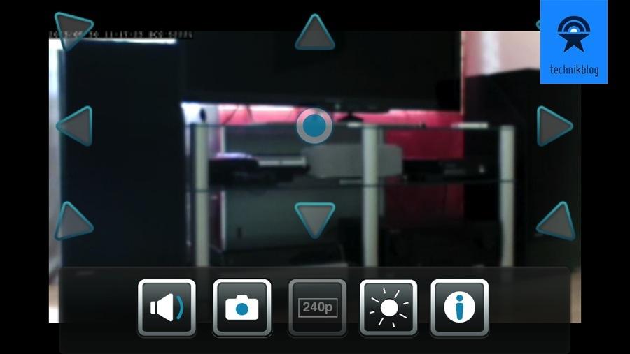Livebild der App auf dem iPhone mit Steuerfunktionen