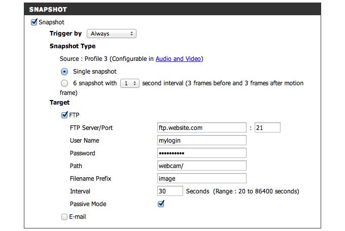 Snapshot Funktion der D-Link Webcam für Zeitraffer benutzen