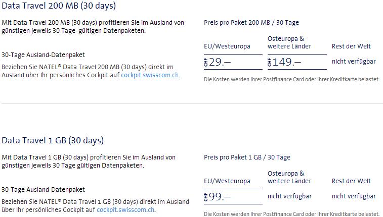 Swisscom DataTravel Roaming