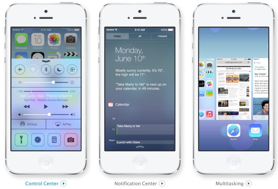 iOS 7 Control Center, Kalender und Multitasking