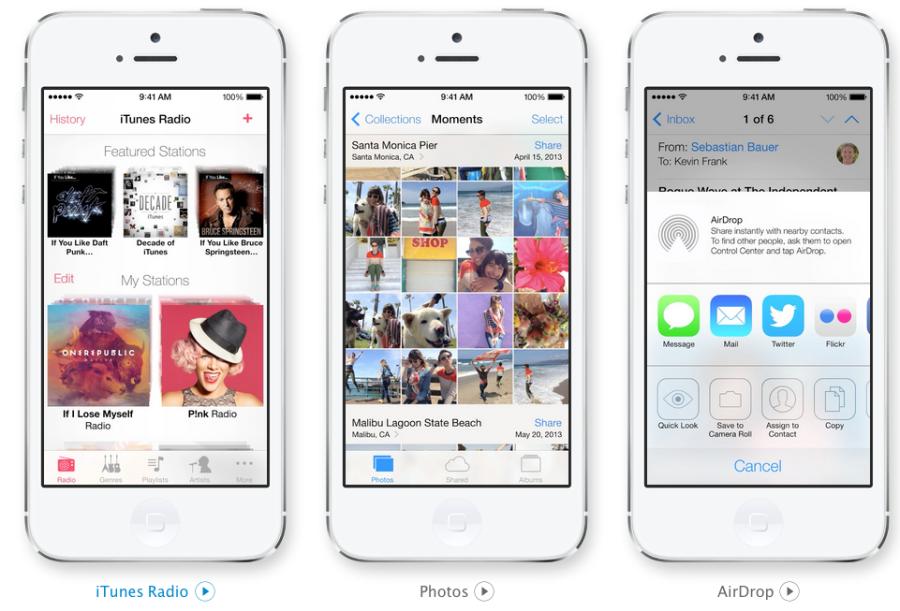 iTunes Radio, Photos mit Moments und AirDrop in iOS 7