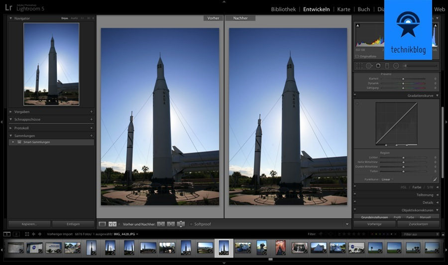Adobe Lightroom 5 Upright Funktion - angewendet an einem Foto vom Kennedy Space Center