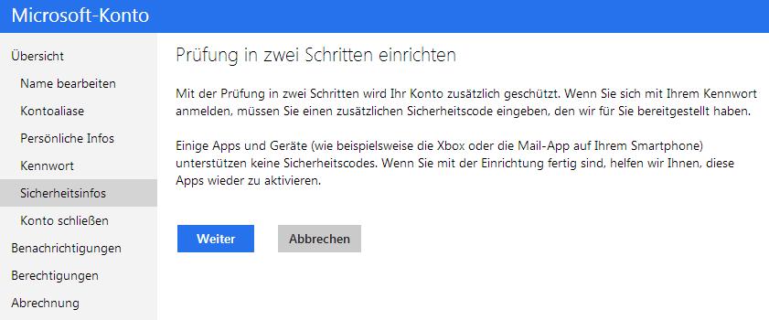 Aktivierung der Zwei-Faktor-Authentifizierung bei Microsoft