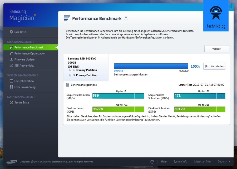 Samsung SSD 840 Evo Performance Messung