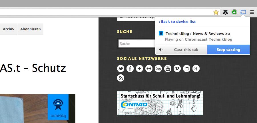 Google Chromecast - Website Streaming