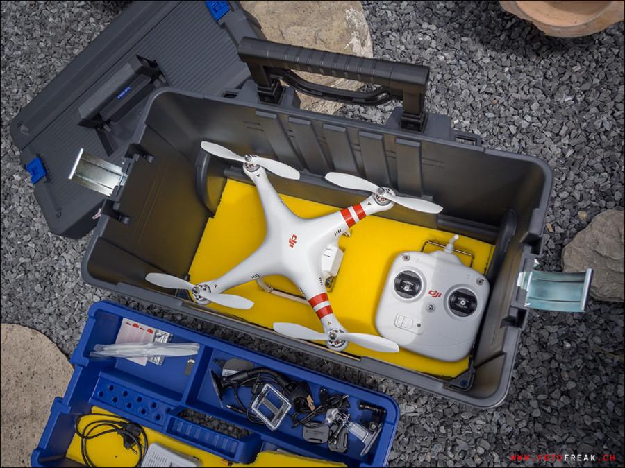 Praktischer Koffer für Lagerung und Transport des Quadcopters