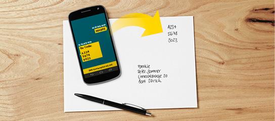 SMS-Briefmarke aufkleben - äh schreiben (c)post.ch