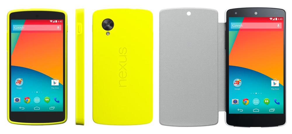 Nexus 5 Zubehör: Links mit Schutzhülle und rechts das Quick-Cover