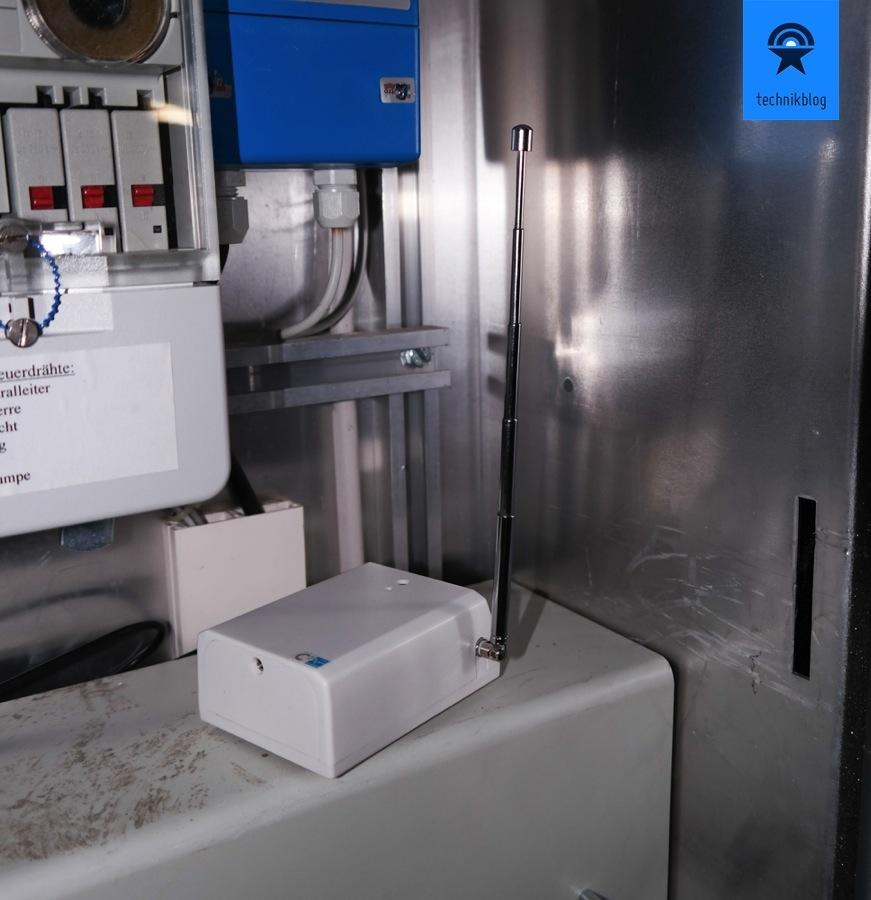 Envir Transmitter im Kasten des Stromzählers, trotzdem hohe Reichweite.