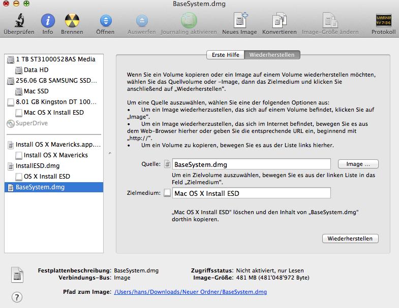 USB-Stick für OS X Wiederherstellen