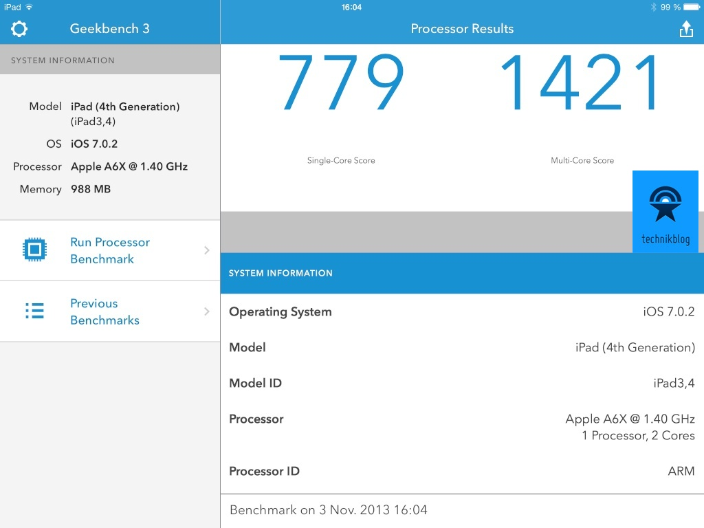 Geekbench 3 Resultate iPad 4th Generation
