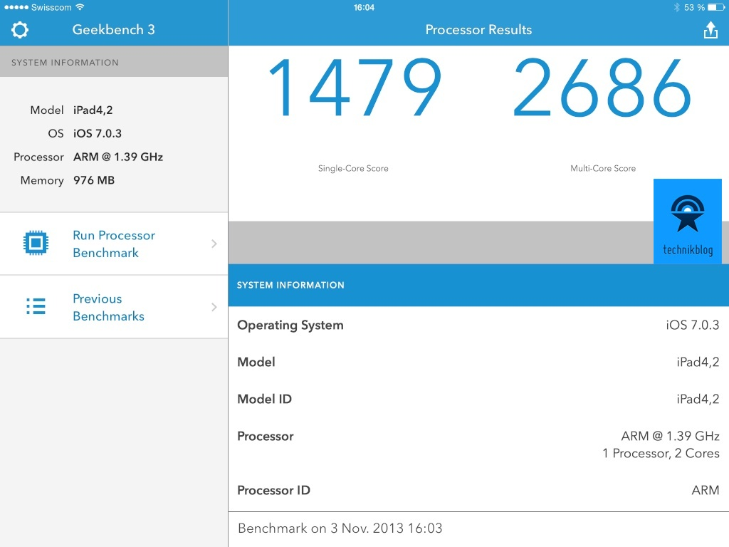 Geekbench 3 Resultate iPad Air