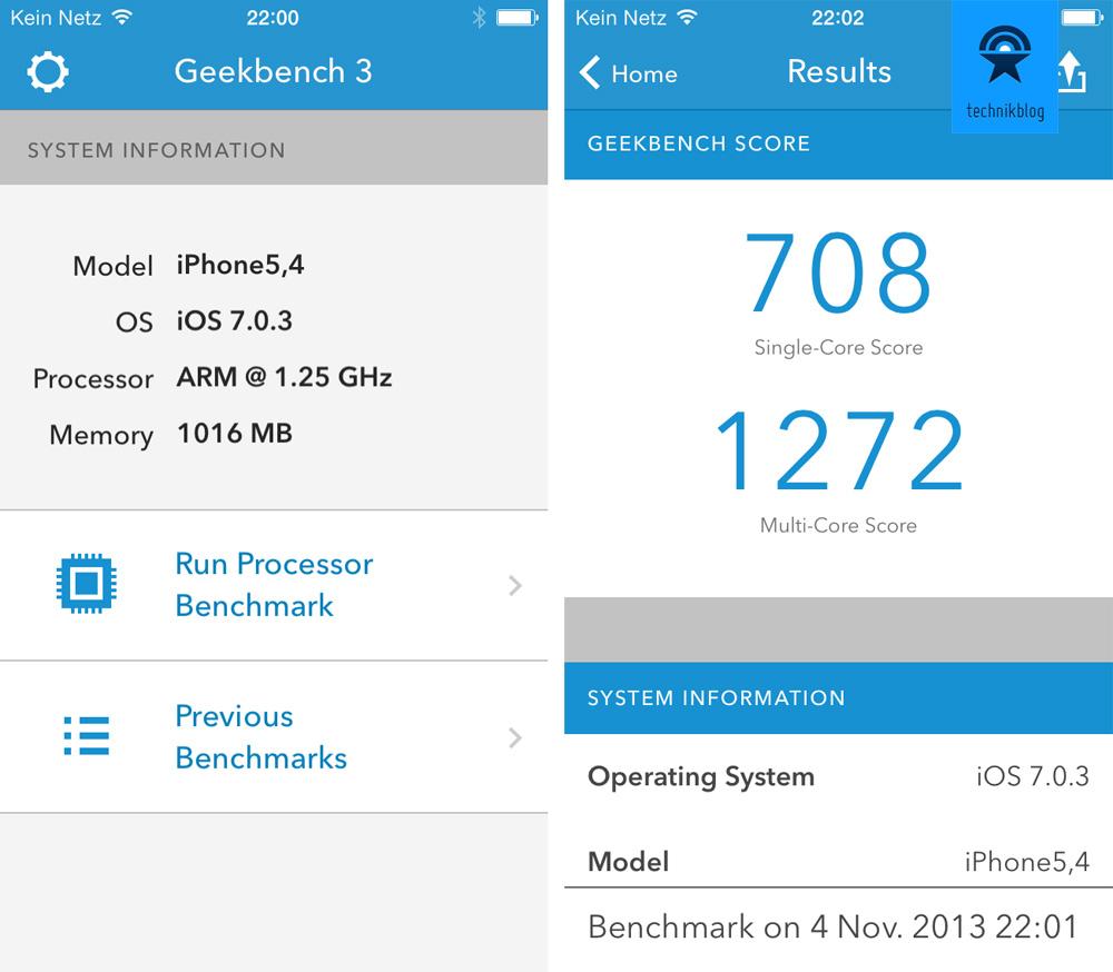 Geekbench Resultat iPhone 5C