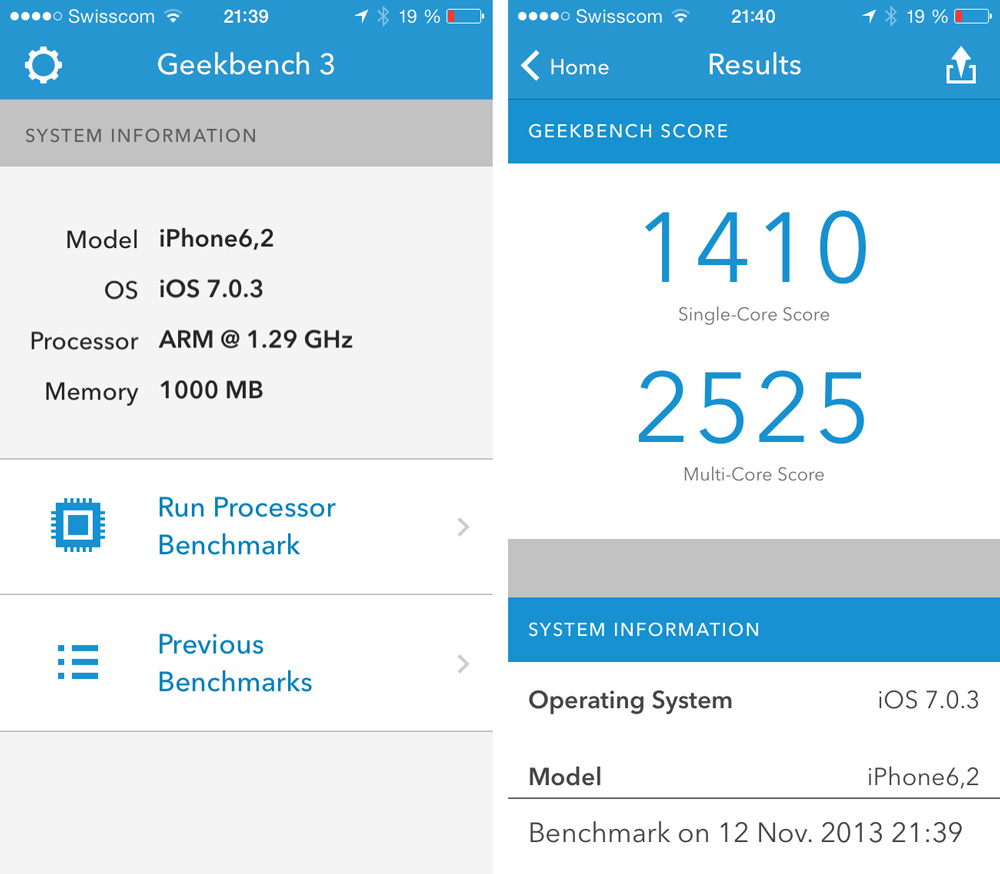 Geekbench 3 Resultate iPhone 5S