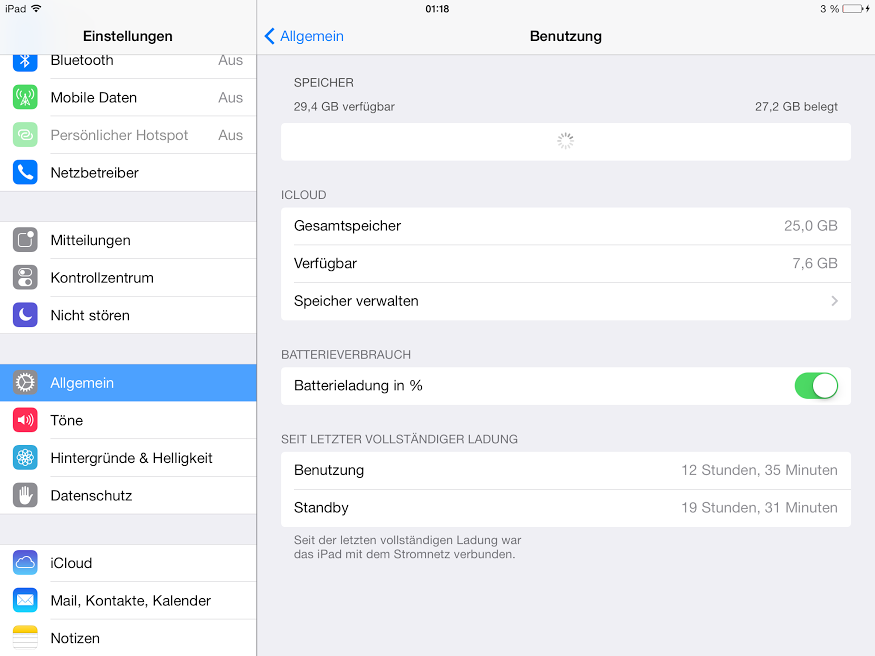 iPad Air Laufzeit - Screenshot von @iladyi