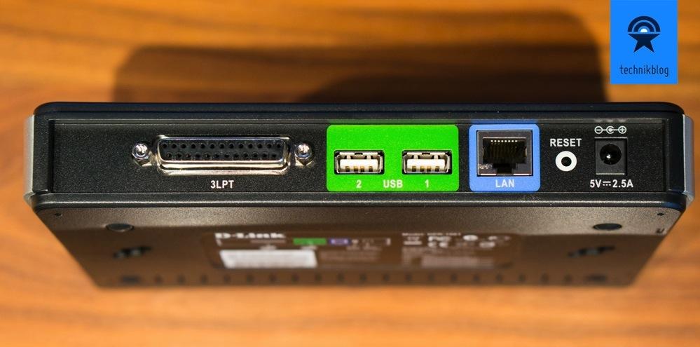 Der D-Link DPR-1061 hat zwei USB Drucker-Anschlüsse und einen LPR Drucker-Anschluss