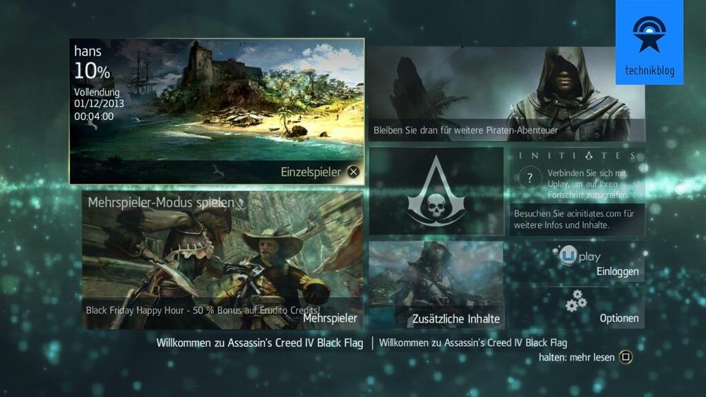 PS4 Screenshot - Assassins Creed 4 Menu