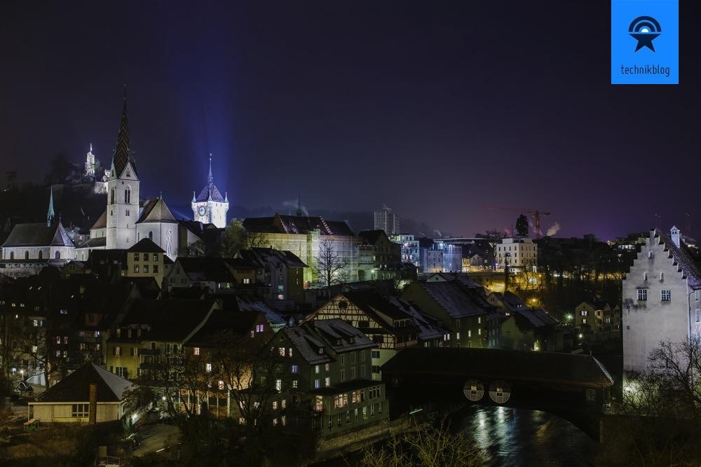 Nachtaufnahme in Baden für Tempus Fugit von Philipp Ebner
