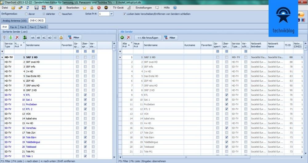 ChanSort Screenshot - DVB-C Senderliste von Panasonic TV bearbeiten