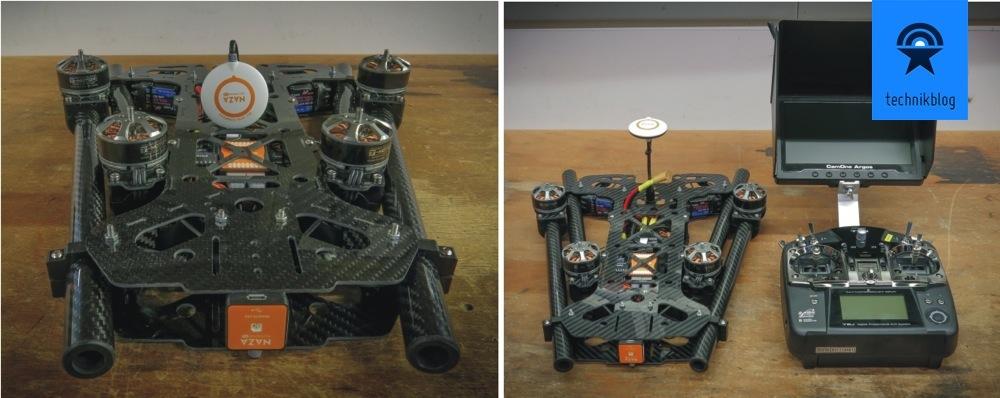 Black Snapper Quadcopter zusammengelegt mit Futaba