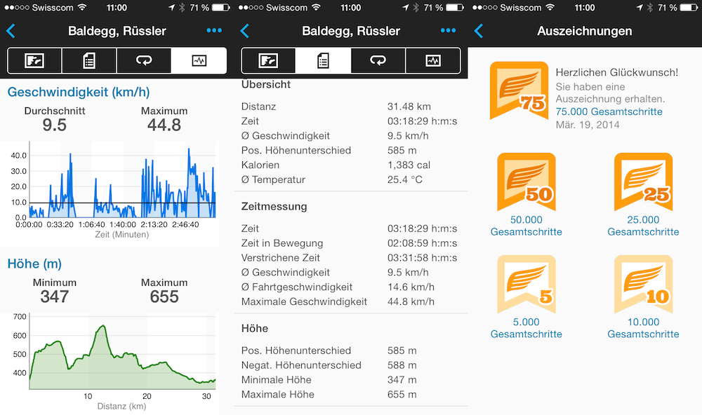 Garmin Connect Screenshots von GPS Daten
