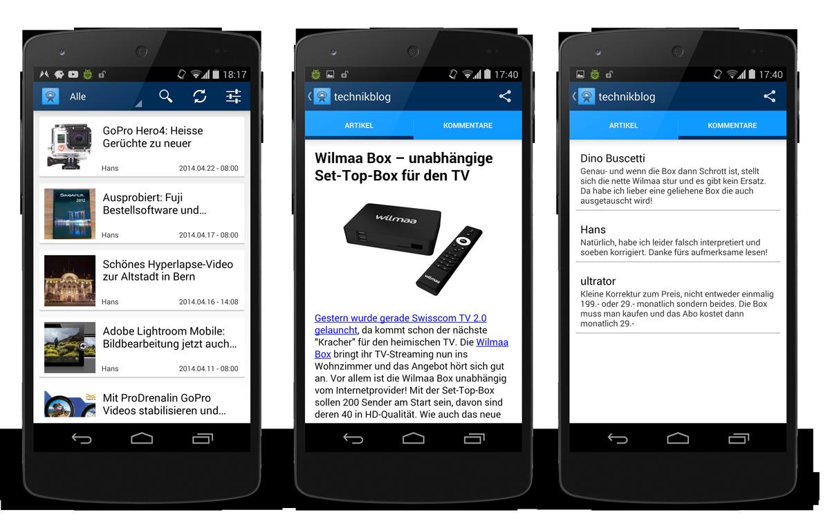 Technikblog App: Screenshots